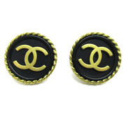 Cc Button Motif Earrings Gold Black Clip-on 94a Accessories 04792