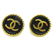 Cc Button Motif Earrings Gold Black Clip-on 95a Accessories 05254