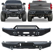 Vijay Front /rear Black Bumper W/led Lights And Winch Plate Fit Tundra 14-20
