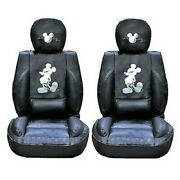 Mickey Mouse Car Seat Covers Premium Limited Edition Faux Leather Pair, Black