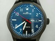 Fortis Aeromaster Pro 655.18.10lp Automatic Black Dial Stainless Leather Menand039s