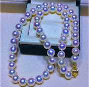 Aaa 8-8.5 Mm Natural Round White Akoya Pearl Necklace 17 14 K Yellow Gold