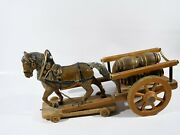 Horse With Cart Of Barrels Old Material Compound Elastolin Wood 15in