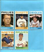 1964 Topps Lot Of 5 Different Hall Of Famer Baseball Cards Vg/ex - Nm