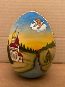 Hand-painted Wood Easter Egg Angel Watching Over Russian Orthodox Church, Signed