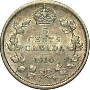 1910 Canada Five Cents Silver- Pointed Holly Leaves C/o Bow Tie Varietyd1634hcc