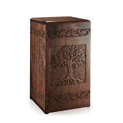 Rosewood Hand-carved Wood Memorial Cremation Box With Velvet Bag