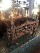 Antique Large Painted Cast Iron Marks Treasure Chest Fire Place W Lights And Glass