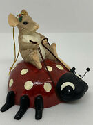 Charming Tails Mouse On Ladybug Express Ornament Signed By Dean Griff L/e