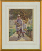 Attrib. Edith Hume 1843-1906 - Watercolour Girls And Their Flowers