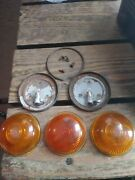 Dietz 532 Amber Lens Glass And Housings 2 And K-d Lamp Co. Kd 539 Amber Lens Lot