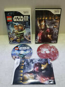 Lego Star Wars Iii The Clone Wars And Iron Man Wii 2 Games 1 Price Free Ship Work