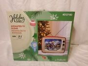 Holiday Living Led Animated Musical Tv Xmas Village Scene Ex Condition