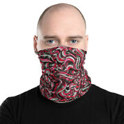 Red Swirl Abstract Scroll Ribbon W4 Face Covering Mask Neck Gaiter