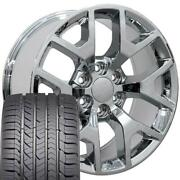 22x9 Wheel And Tire Fits Chevy Gm Sierra Chrome Rims Gy Tires 5656 Cp