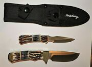 Schrade Uncle Henry 8.5 And 6.5 Fixed Blade Bowie-type Hunting Knives New
