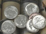 1954-p Silver Roosevelt Dime Bu Roll Of 50 Coins B0704