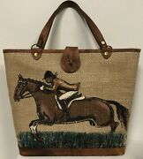 Enid Collins Texas Equestrian Steeplechase Brush Fence Horse Painted Canvas Tote