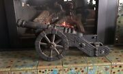 """Large Heavy Vintage Solid Cast Iron Cannon Replica 29"""" X 12"""""""