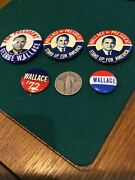 Five 4 Different Wallace For President Buttons/pin Back Button Sizes 1-2 In