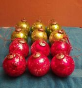 Vintage 12 Heavy Large 4 Round Ball Red And Green Glass Christmas Tree Ornaments