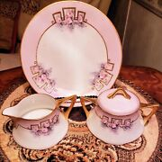 Antiquej.p.l. Limoges Francepink And Gold Giltcreamer Sugar And 8 Lunch Plates