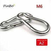 4pcs M6 304stainless Steel Carabiner Carbine Snap Hook Outside Opening Aisi304