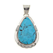 Hsn Chaco Canyon Pear-shape Kingman Turquoise Sterling Silver Pendant 642