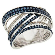 Hsn Sterling Silver 1.52ctw Blue And White Diamond Crisscross Ring Size 8 899