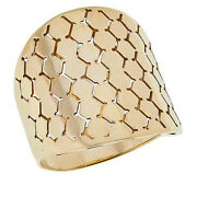 Hsn Golden Treasure 5.0 Gms Solid 14k Italian Gold Mosaic Band Ring Size 8 1199