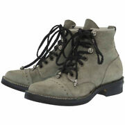 Authentic Chrome Hearts Wesco Job Master Boots Gray Suede 0059