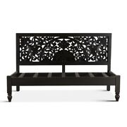 79 L Erika Day Bed Mango Wood Floral Carved Headboard Traditional