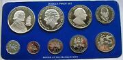 Jamaica 1977 Box Proof Set Of 9 Coinswith 2 Silver Coinsproof