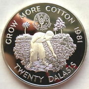 Gambia 1981 World Food Day 10 Dalasi Silver Coin,proof