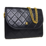 Quilted Cc Double Chain Shoulder Bag Purse Black Leather Vintage 34585