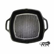 Cast Iron Grill Pan With Loop Handle Pre Seasoned Iron Grilling Skillet 10.5