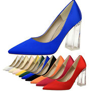 Women's Pointed Pary Shoes Block High Heels Ladies Club Fashion Casual Pumps New