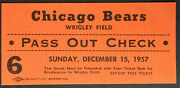 1957 Wrigley Field Football Pass Out Check Ticket Chicago Bears Vs Lions Nfl Vtg