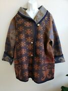 Vintage Pendelton Native American/indian Blanket Jacket/coat With Coin Buttons