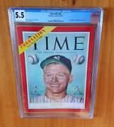 Time Magazine 1953 Mantle First Cover Newsstand Cgc 5.5 Two Higher Pop 3