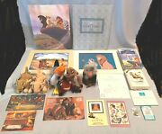 Disney Store Lion King Lithograph And Beanie Plush And Vhs And Wdcc Timon Luau Orn