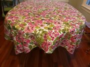 Vintage Kentucky Derby Tablecloth Flower Rose Pink Green Floral 70 X 53 Retro