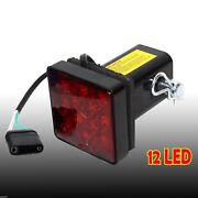 2 Trailer Hitch Receiver Cover With 12 Led Brake Leds Light Tube Cover W/ Pin