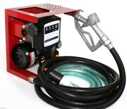 110v Electric Oil Fuel Diesel Gas Transfer Pump W/meter 12and039 Hose Manual Nozzle