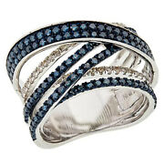 Hsn Sterling Silver 1.52ctw Blue And White Diamond Crisscross Ring Size 7 899