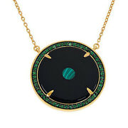 Hsn Rarities Gold-plated Sterling Silver Evil Eye Black Onyx Disc Necklace 399