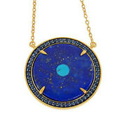 Hsn Rarities Gold-plated Sterling Silver Evil Eye Blue Lapis Disc Necklace 399
