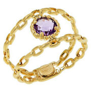 Hsn Passport To Gems 14k Gold Double-link Amethyst Ring Size 6 719