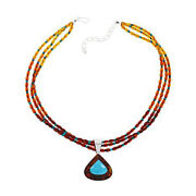Hsn Jay King Sterling Silver Amber And Turquoise Pendant With Necklace 585