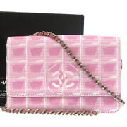 Authentic New Travel Chain Wallet Shoulder Bag Pink 0032